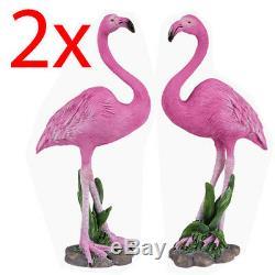 2 X Flamingo Figure Wild Bird Decoration Office Animal Polyresin Statue 22cm New