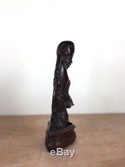 Antique CHERRY AMBER BAKELITE TYPE CARVED CHINESE FIGURE on stand