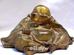 Antique Early 19th Century Buddha Figure With Hidden Erotic Scene Bakelite