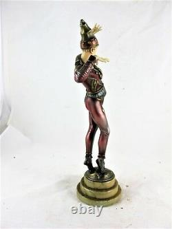 Art Deco Cold Painted Spelter Figure Of A Jester, C1930's, Resin Head & Hands