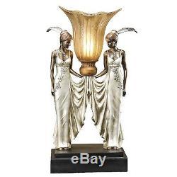 Art Deco Table Lamp Nouveau Glass Shade Lady Figure Figural Women Statues Office