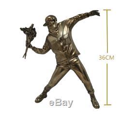 Bronze BANKSY FLOWER BOMBER Brandalism Ceramics Art Statue Figure Model Toy 14in