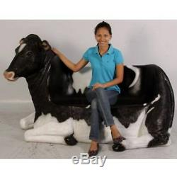 Cowch Garden/indoor 2 Seat Bench Resin Animal Life Size Cow Figure Statue