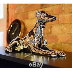 Dwell Pair Silver Dog Statue Greyhound Whippet Tall Figure Electroplated Resin