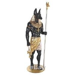 Egyptian God Anubis Grand Ruler Covered With Real Gold And Silver Leafs 74 Statue