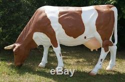 Feeding Cow 7 Garden Statue Resin Life Size Animal Figure 2 Colours Choice