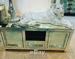 Impressive ex Large Life Size Panther leopard Silver diamante Statue Figure 40