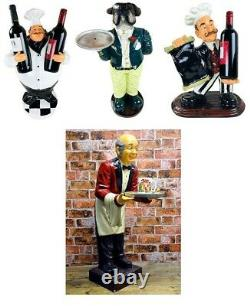 Old Man Waiter with Tray Bulldog Chef Wine Holder Statue Ornament Kitchen 90cm