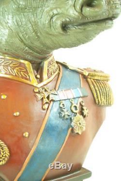 Ornament Figure Bust Statue Large Military Regal Dressed Rhino Animal Bust