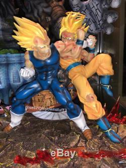 Recast VKH Dragon Ball Z Super Saiyan 2 Goku Vs Majin Vegeta Resin Statue Figure