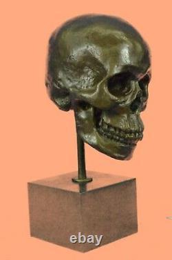 Skull Sculpture Statue Figure Skeleton Head Metal Bronze No Resin Figurine Art