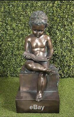 Statue Boy Reading Figure Outdoor Angel Aged Bronze Effect 2 FT Garden 60cm