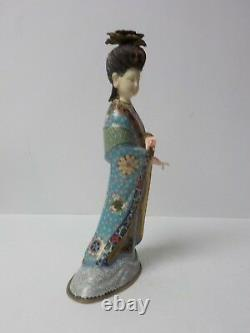 Unusual Chinese Cloisonne 12 Female Figure, Painted Resin Head & Hands