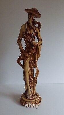 Vintage Pair Male & Female Oriental Chinese Resin Figures Statue