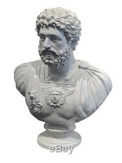 White Emporer Hadrian Vintage Roman Statue Bust Ornament Figurine Warrior Beard